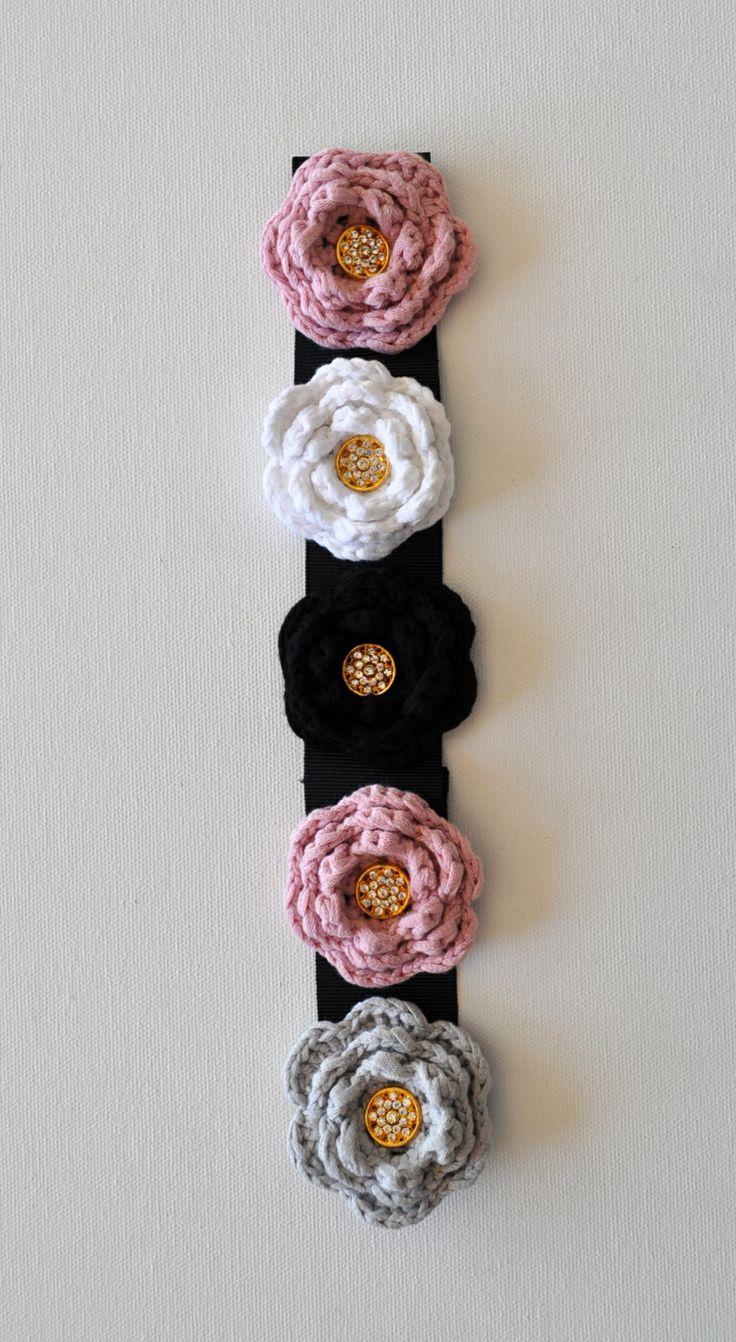 FLORENCE handmade headband. Crochet roses on black grosgrain ribbon