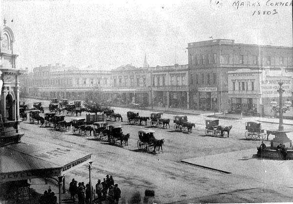Horse drawn cabs at Mark's Corner on Sturt St in Ballarat,Victoria in 1880.