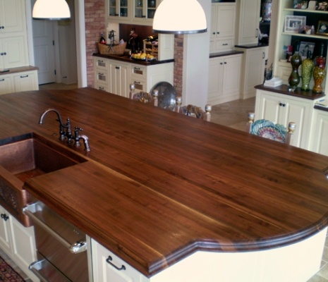 Distressed Walnut Island With Sink   Kinda Like The Curved Sides. Find This  Pin And More On Butcher Block Countertops ...