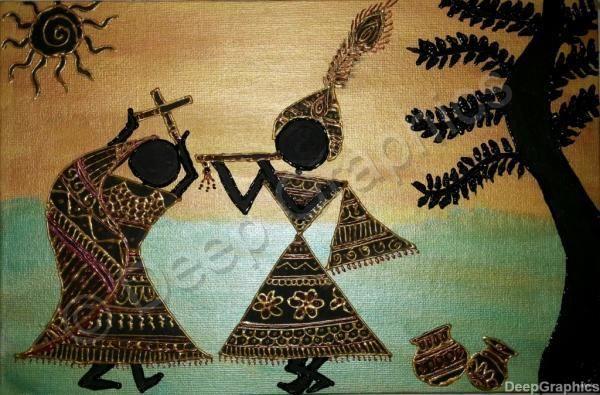 Radha-Krishna warli art