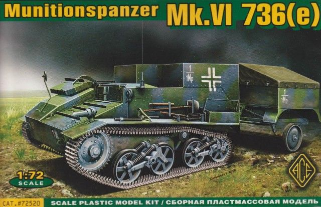 Munitionspanzer Vickers Mk.VI 736(e). Ace, 1/72, rebox 2013 (ex Ace 2012 No.72291, updated / new parts), No.72520. Price: 12,89 EUR (marketplace).