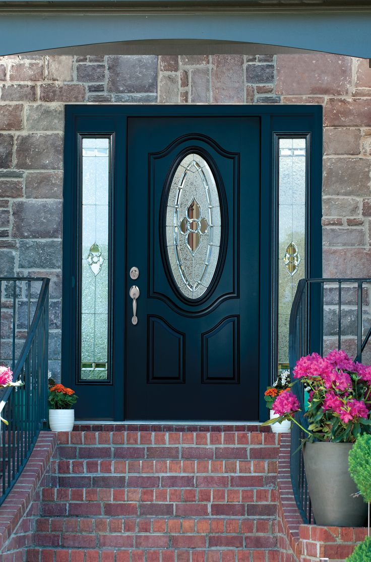 Make your entrance way Grand with this MAXIMA Door! 2 Panel 3/4 Oval Deluxe Mahogany Door with Full Lite Sidelites with Dynasty Glass. All in Enzian Blue. Plymounth Handleset in Satin Nickel. MAXIMA Doors are available exclusively through Norandex. Visit www.norandex.com today to learn more!