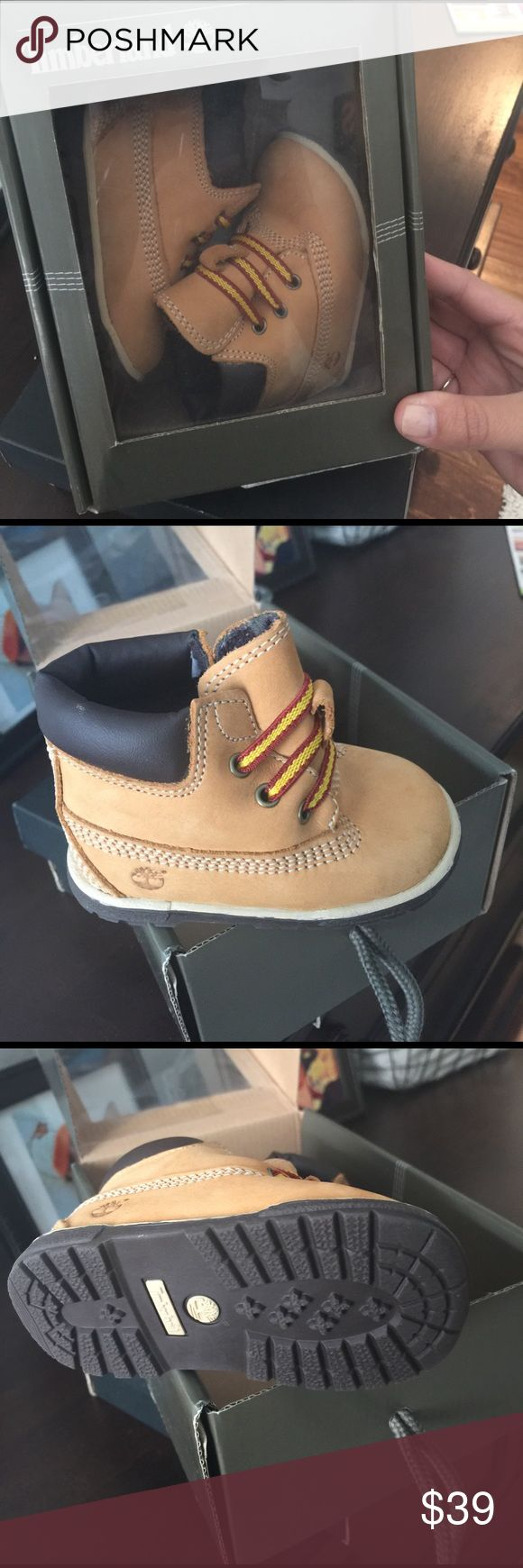 Infant timberland boots in wheat color. Never worn , infant timberland boots. Paid full price and unfortunately my son never got to wear them and now they no longer fit. Timberland Shoes Lace Up Boots