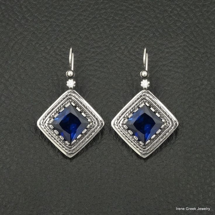 BIG SAPPHIRE CZ ETRUSCAN STYLE 925 STERLING SILVER GREEK HANDMADE ART EARRINGS #IreneGreekJewelry #DropDangle