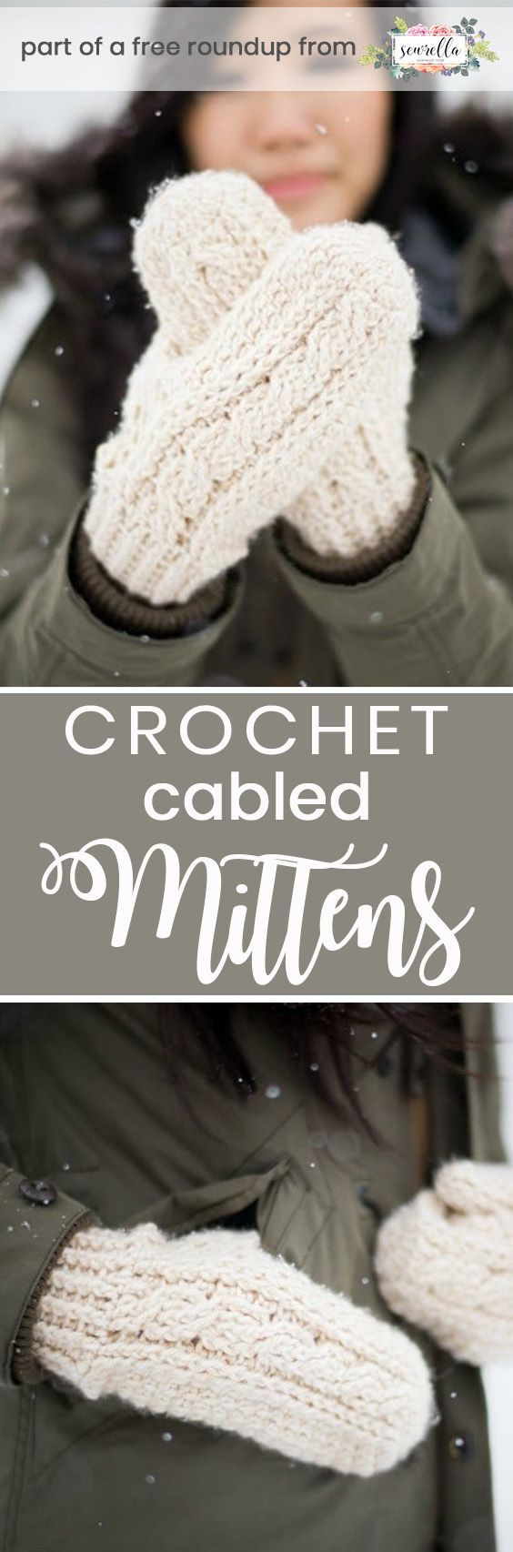 Get the free crochet pattern for these cabled crochet mittens from All About Ami featured in my crochet that looks knit FREE pattern roundup!