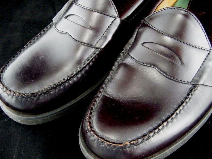 LL BEAN Men's Penny Loafers, Size 10.5 B, Burgundy Leather, Slip-Ons UEC #LLBean #LoafersSlipOns