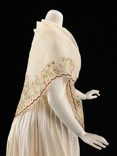 1840-1860 ca.  Fichu, American. Cotton and silk and with beautiful embroidery at the hem.   via Metropolitan Museum New York City, U.S.A.  metmuseum.org  suzilove.com