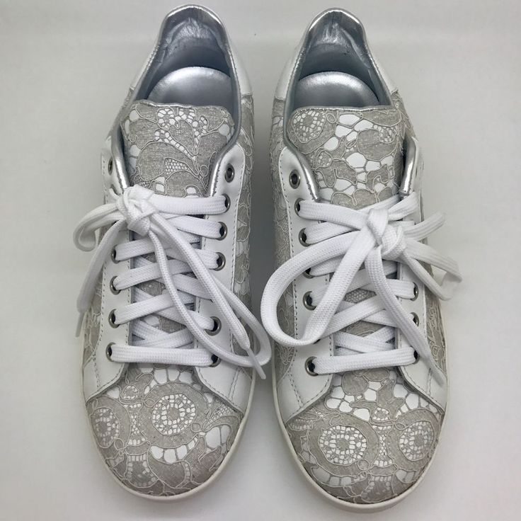 DOLCE & GABBANA WHITE BEIGE LACE FLORAL TRAINERS SNEAKERS SPORTS SHOES 39 UK 6