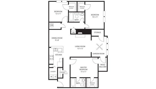Ficus 1300 Sq Ft 3 Bedroom 2 Bathroom Floor Plans