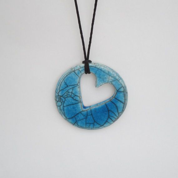 Raku Ceramic Pendant Necklace by SoleyInspired on Etsy, $18.00