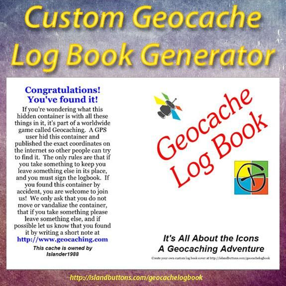 Geocache Log Book Cover Generator. Create a personalized geocache log book cover for your larger caches hides.
