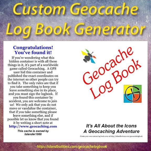 Geocache Log Book Cover Generator. Create a personalized geocache log book cover for your larger caches hides.