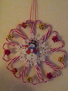 Dollar Store Craft Candy Cane Wreath