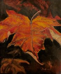 """Fall Bloomer 2 is a close up of a fall leaf inspired by the short lived seasons we have here. Fall and Spring are my favorite seasons...Winter and hot, humid TX summer...not so much. """"Fall Bloomer"""" is available for sale at http://www.fontainefineart.com/fallbloomer2.shtml"""