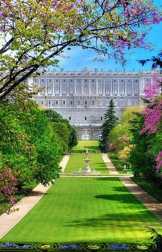 The Palacio Real de Madrid is the official residence of the Spanish Royal Family, but is only used for state ceremonies. King Juan Carlos and family have chosen to live elsewhere. It was a medieval fortress which had severe damage. It was essentially rebuilt beginning in 1516. Spring Palace by lightavail | See more about madrid spain, madrid and palaces.