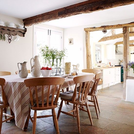 Rustic kitchen and dining spaces