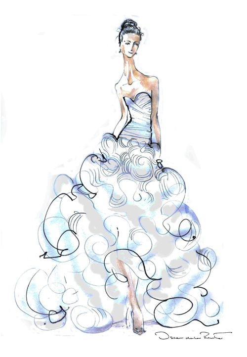 Oscar de la Renta Bridal gown fashion sketch