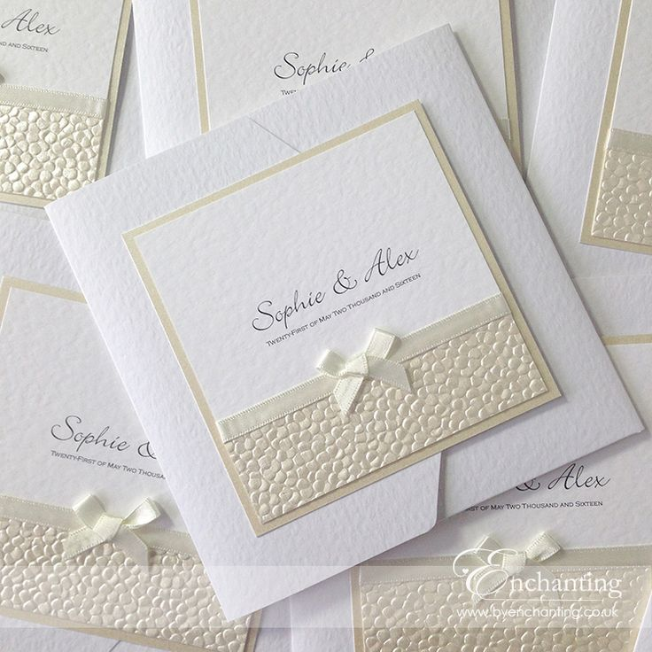 "The Belle Collection - Pocketfold Invitation | Featuring ""Bridal White"" (ivory) ribbon and ""Ivory Pebble"" paper, with a little bow 