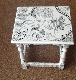 Efie goes Zentangle - I would like to use chalk board paint, then I could chalk a tangle and erase and do over at whim!