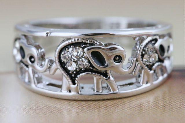 Elephant Ring/White Gold Plated Elephant Ring #720