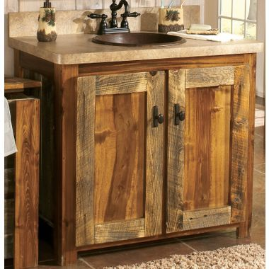 Rustic wood sink cabinet