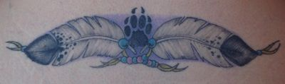 native wolf pics | Native American Feathers Wolf Paw Print Native American Tattoo