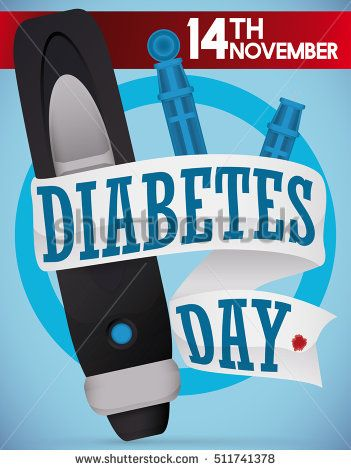 Commemorative design for World Diabetes Day with a lancet, spare parts and a white greeting ribbon around it, and another red ribbon with date for this special date.