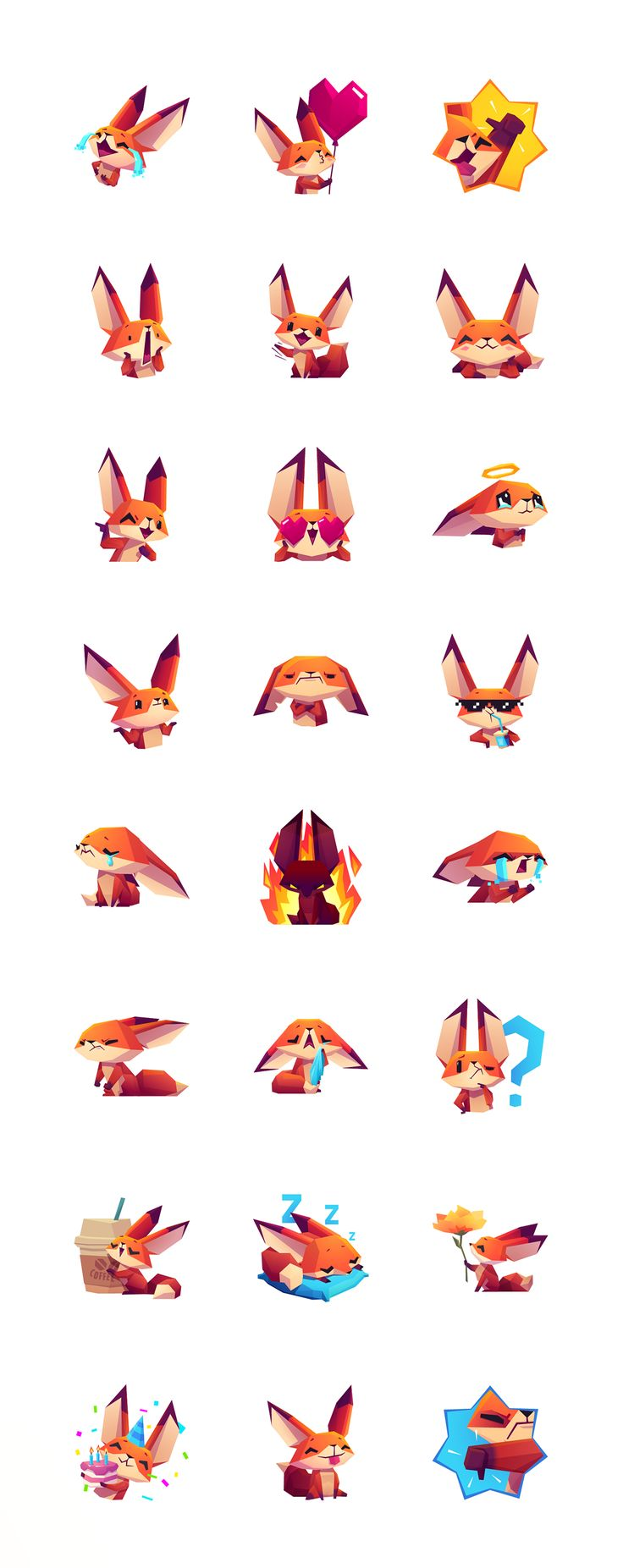 Introducing to you Sticker Pack with cute hero of our last gameThe Little Fox,a charismatic foxin low poly style. Specially made for iMessage on App Store.