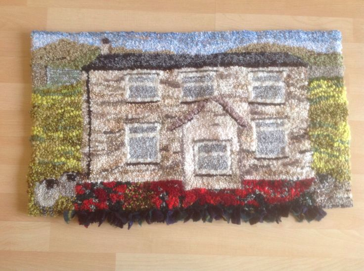 Rag rug Yorkshire Dales cottage    Hooked by Anne