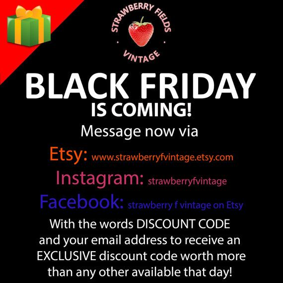 Message Strawberry Fields Vintage now to receive an exclusive BIG discount to use on Black Friday!
