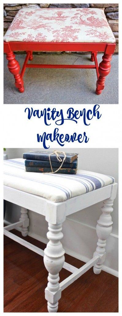 Vanity Bench Makeover. Chalk Painted bench in Pure White. Pure White Chalk Paint. Annie Sloan Pure White.
