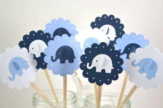 Blue Elephant Cupcake Toppers Elephant Baby by sunshowerstuff, $5.75