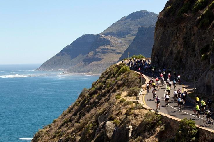 Cyclists riding along Chapman's Peak