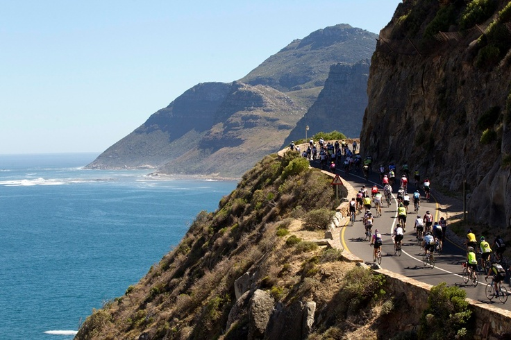 Cyclists riding along Chapman's Peak