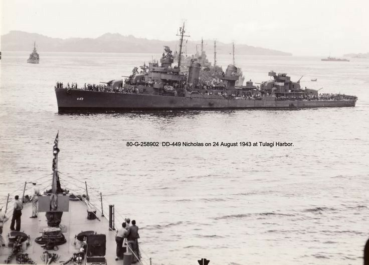 USS Nicholas  (DD-449) Fletcher-class destroyer.  1943 Tulagi Harbor.