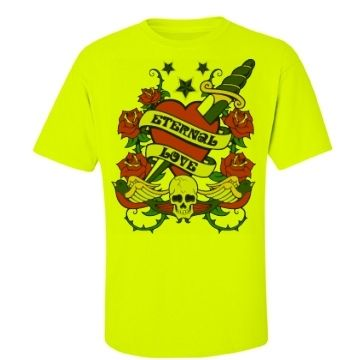 Eternal Love Men's Hi Vis T-Shirt $A47.50 Sizes: S -5XL Front print and your choice of name & number on the back.  Each shirt is custom made to order preference.  http://www.wildsteel.com.au/eternal-love-hi-vis-unisex/