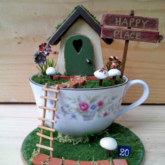 No. 20 Happy Place/Tea Cup Fairy Garden/Desktop by WhimsiesandRugs