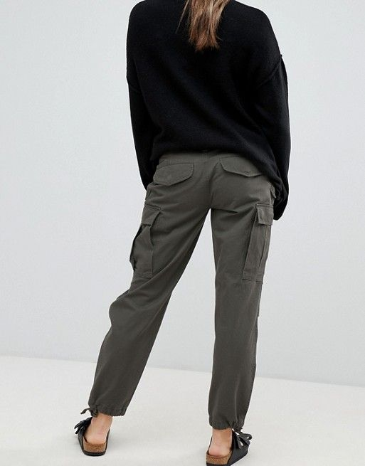 28f2788663cea ASOS DESIGN Maternity cargo trousers in khaki with under the bump waistband    ASOS