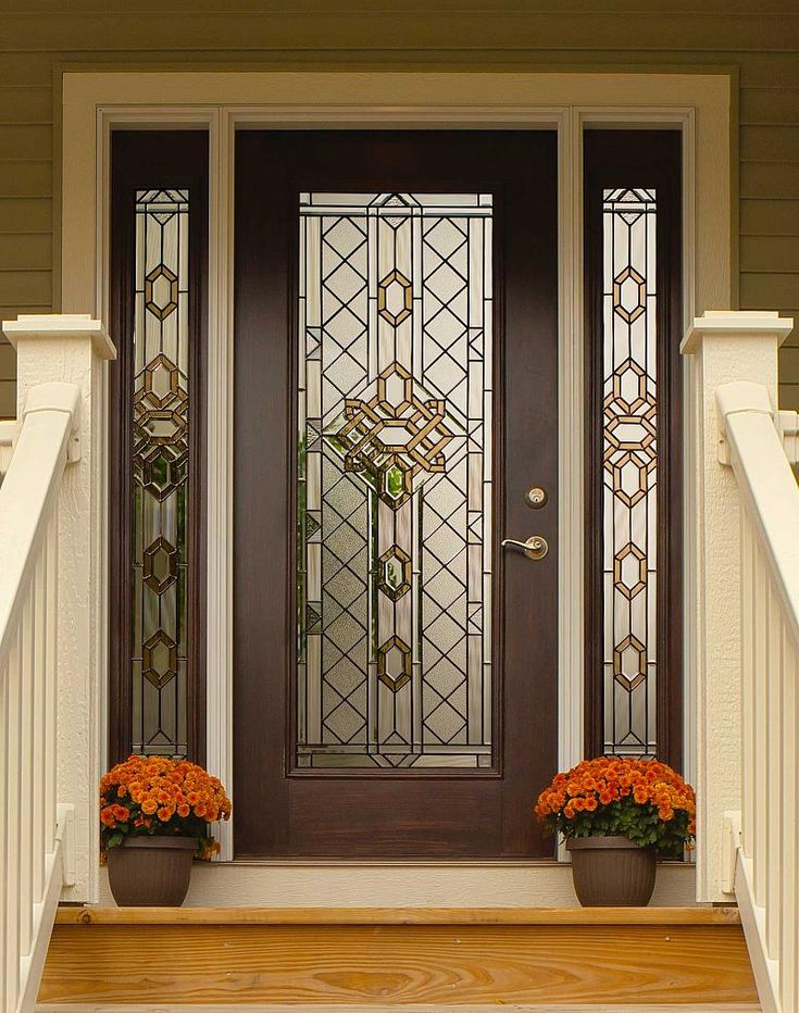 Great Design Beveled Glass Home Entry Door Featuring Dark Brown .
