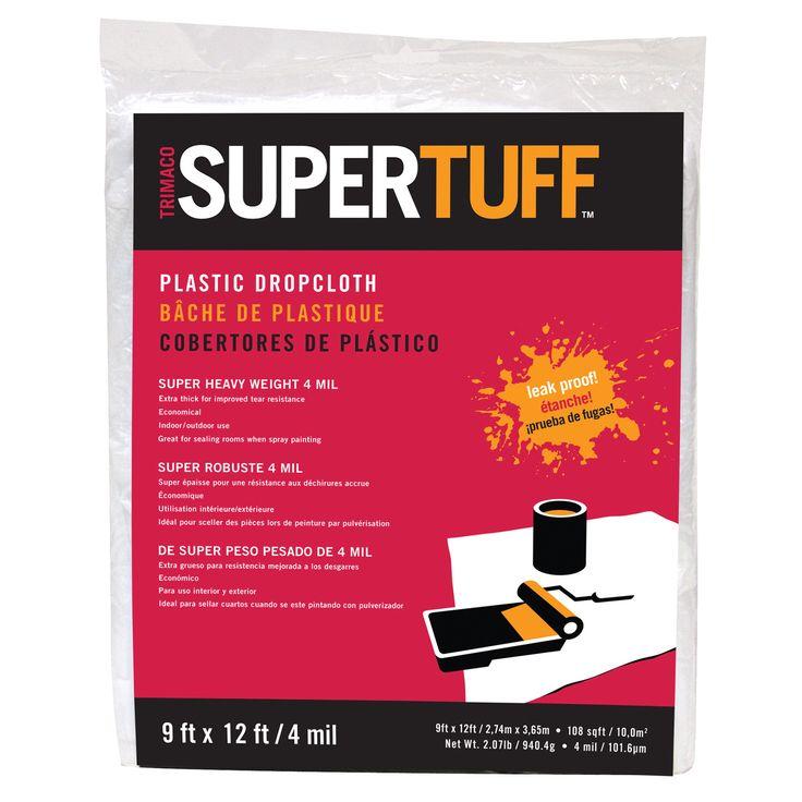 tufpro 9u0027 x 12u0027 4mm supertuff plastic drop cloth