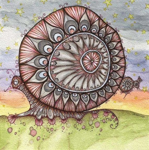 Snail Art The Messenger of Whimsy Limited by JessicaDoyle. $100.00 CAD, via Etsy.