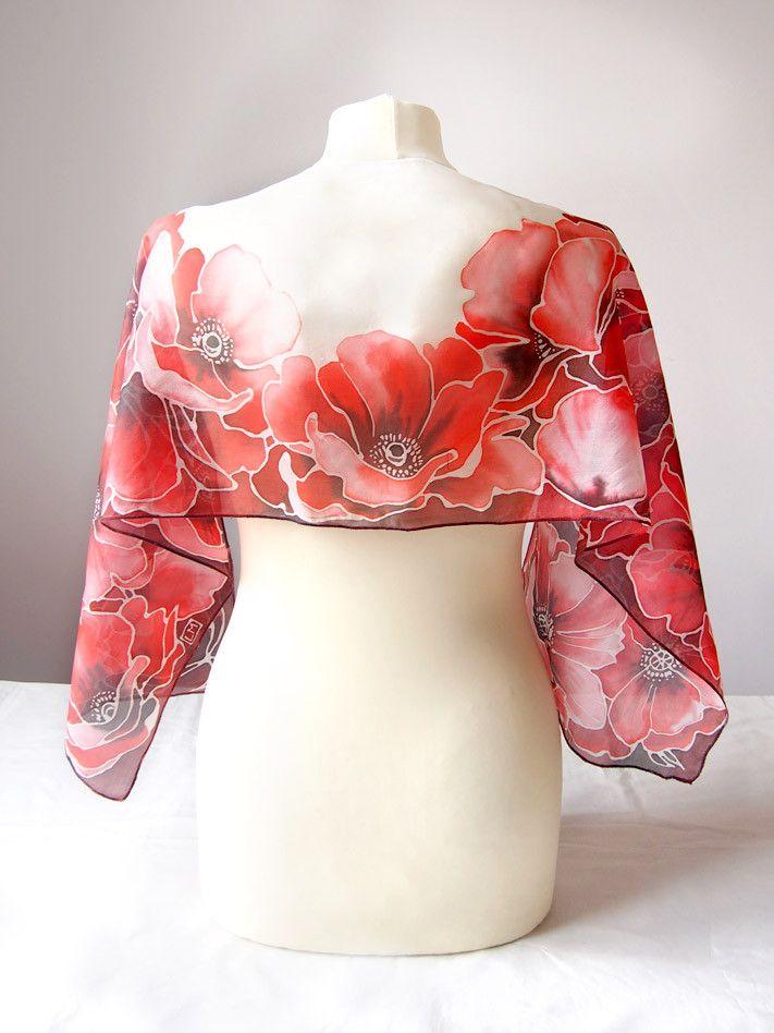 Silk scarf Fiery Red Poppies hand painted by Luiza Malinowska Minkulul On Etsy: www.etsy.com/... #minkulul #malinowska #silkscarf