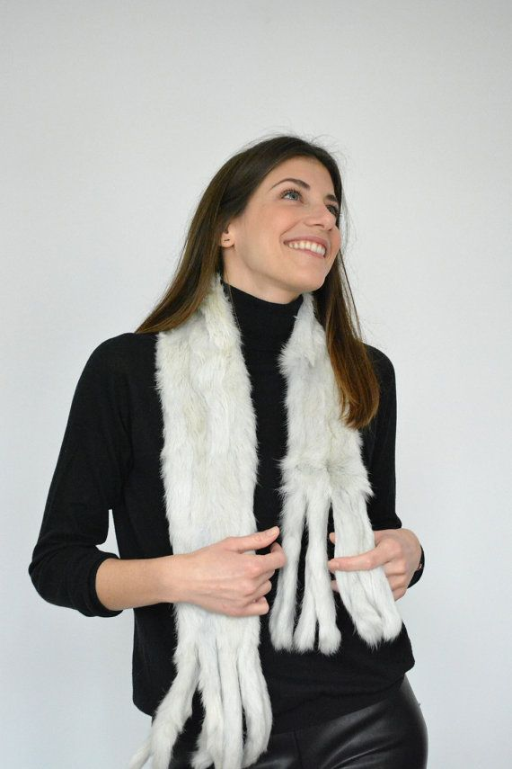 Women's Handmade White Sugar Fur scarf made with by lefushop