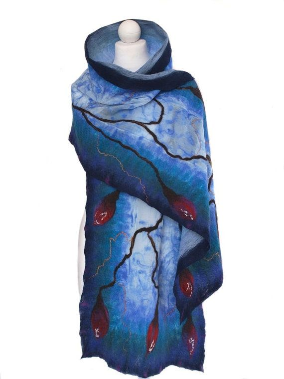 Nuno felted scarf navy blue and royal blue unique by ArtMode