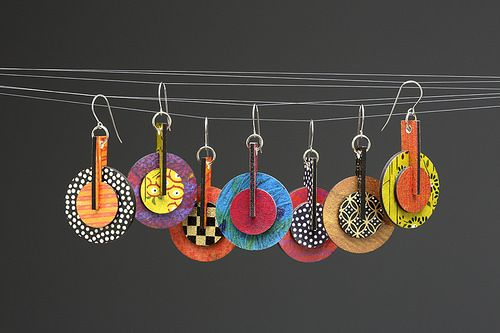 Paper Julep Earrings - Round Stacks ~ using embroidery on paste papers