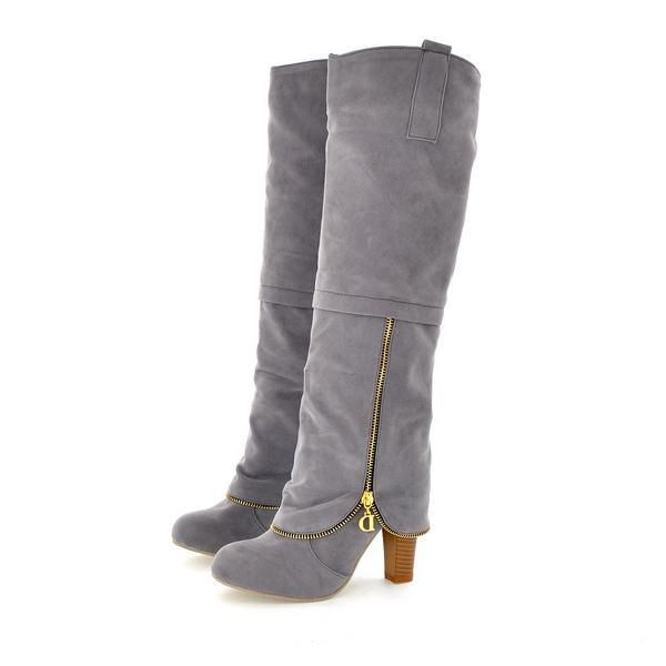 Winter Round Toe Chains Chunky High Heel Grey Suede Knee High Cavalier Boots on Luulla