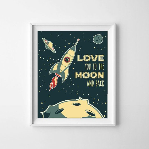 Love you to the moon and back retro rocket by ElephantJuiceNZ