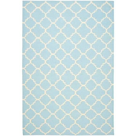 Dhurries Rug II in Light Blue and Ivory
