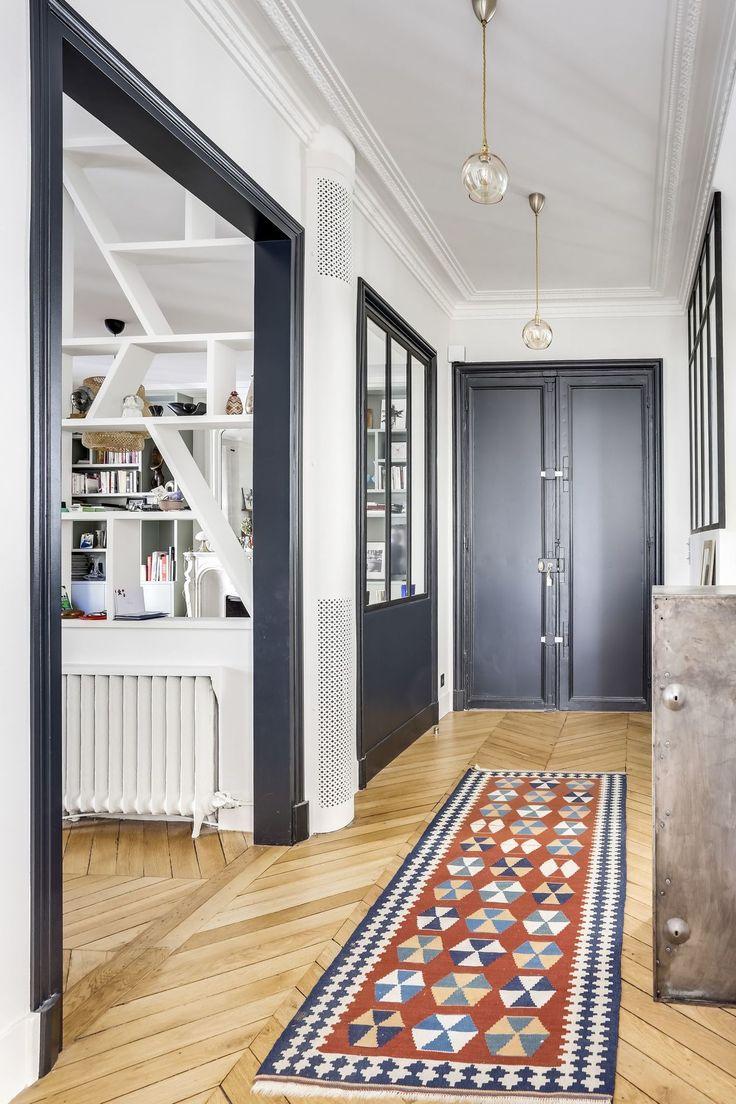 Appartement Paris 16 : un 120 m2 haussmannien devient cocon familial | Déco entrée maison ...