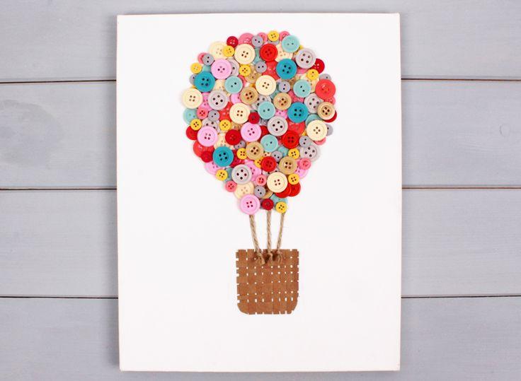 How to Make an Air Balloon Button Canvas #Buttons #Homecraft